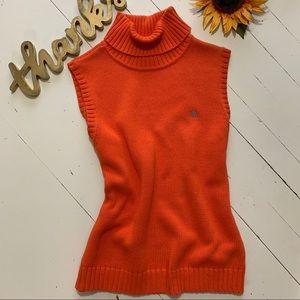 Lauren Cotton Knit TurtleNeck Sleeveless Sweater L